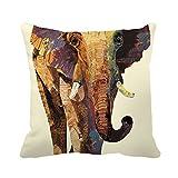 Poppylife africain animaux sauvages Elephant Peinture à l'huile Motif décoratif carré Couvre-lit Taie - Best Reviews Guide
