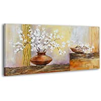 YS Art 100% Handgemalt + Zertifikat | 120x60 Cm Acryl Gemälde | Topf Mit