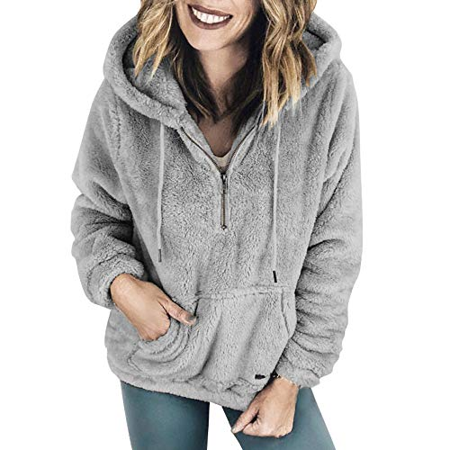 (Damen Strickjacke MYMYG Kapuzenpullover Lang Teddy Hoodie Frauen Kapuzenpulli Winter Warme Pullover Blusen Teddy-Fleece Pullover mit Reißverschluss Taschen(GrauEU:38/CN-L))