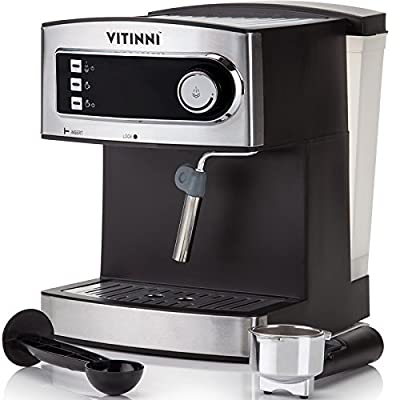 Italian Style 15 Bar Pressure Pump Barista Espresso Coffee Machine with Milk Frother for Cappuccino & Latte by Vitinni by Vitinni