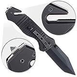 Semptec Urban Survival Technology Messer mit Gurtschneider: Scharfes Edelstahl-Klappmesser, Alu-Griff, Gurtschneider & Glasbrecher (Rettungsmesser)