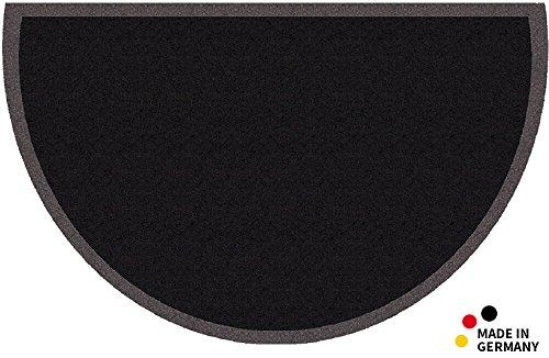 matches21 Fußmatte Fußabstreifer Schmutzfangmatte Uni einfarbig schwarz 50x80 cm halbrund waschbar ** B-Ware Preishammer! **