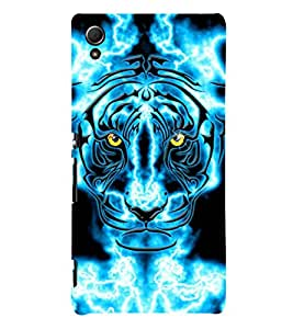 animated glowing tiger face 3D Hard Polycarbonate Designer Back Case Cover for Sony Xperia Z4 :: Sony Xperia Z4 E6553