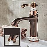 LHbox Bad Armatur in Bad für Waschbecken Waschtisch Wasserhahn Waschtischarmatur Euro Kupfer Waschbecken Wasserhahn Badezimmerschrank Waschtisch Armatur Farbe Rot Keramik Hahn