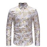 Uomo Camicia Maniche Lunghe Maglione Moda Colletto Dritto Stampa Maglione Slim Fit T-Shirt Long Sleeve Shirt Camicia S-2Xl Qinsling