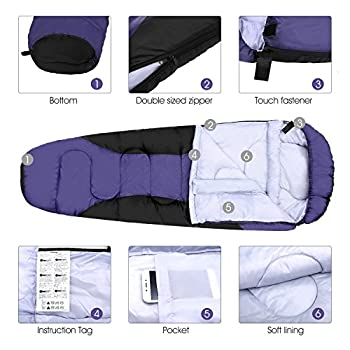 Enkeeo 3–4Season Mummy Sleeping Bag With Bag Of Built-in Compressionhoodpocket, Impearmeabile & Breathable, Lightweight & Compact For Travel Camping Travel, Men's, Purple 2