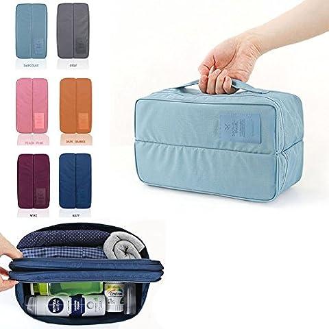 Glantop portátil de viaje cajón divisores Organizadores bolsa de lavandería sujetador ropa interior bolsa de almacenamiento Luz Nailon), color azul