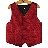 PYJTRL Boys Wedding Waistcoat (Red, Size 10/Height 125-135cm)