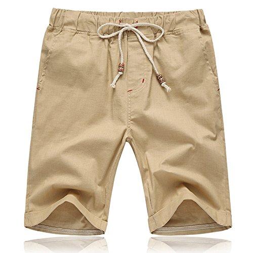 Lazzgirl Männer Shorts, Männer Sommer Leinen Baumwolle Solide Strand Lässige elastische Taille Classic Fit Shorts(Khaki,XXXX-Large,Baumwollmischung) Classic Pleated Chino