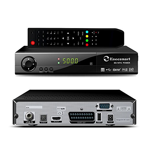 Eseesmart Digital Satelliten Receiver HD digitaler Multistream Sat Receiver WLAN (HDTV, DVB-S2X, HD, 2X USB 2.0, 1080p, Youtube, PVR Aufnahmefunktion,H.265,USB Wifi dongle) SchwarzIdeal-Ideal for Astra, Hotbird, Nilesat Türksat...