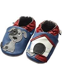jinw Brentwood Designed by amsomo–Dog OceanBlue–Mini Shoes–Perro–Zapatillas–Piel puschen–Patucos