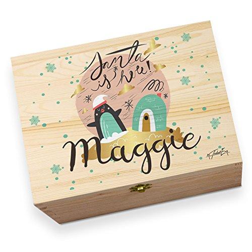 Pinguin Iglu Santa ist hier personalisierbar großes Rustikales bedruckt Christmas Eve Box -