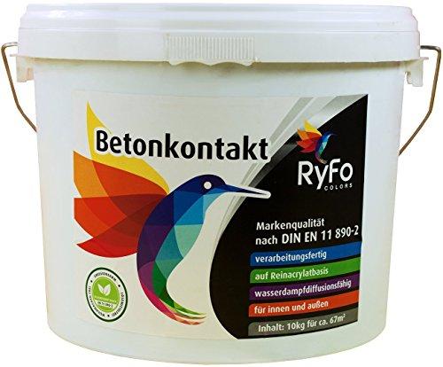 RyFo Colors Betonkontakt 10kg (Größe wählbar) - bläuliche Grundierung für innen und außen, Betokontakt, gebrauchsfertig, Haftgrund, Haftbrücke, sehr ergiebig, lösemittelfrei, emissionsarm, geruchsarm, zertifiziert