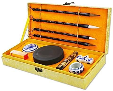 HorBous 10 PCS Set de calligraphie chinoise Inkstone + Brosse d'écriture et de peinture + Bloc d'encre + Sceau + Inkpad + Rack pour stylo + Water Bowl (de base)