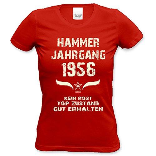 Damen Motiv T-Shirt :-: Geburtstagsgeschenk Geschenkidee für Frauen zum 61. Geburtstag :-: Hammer Jahrgang 1956 :-: Girlie kurzarm Shirt mit Geburtstags-Aufdruck :-: Farbe: rot Rot