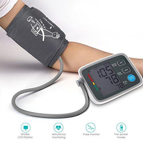Oberarm Blutdruckmessgerät, U-Kiss Vollautomatische Digitales Blutdruckmesser Mit LCD-Display, Leicht und Tragbar Pulsmessung am Oberarm zur Messung von Blutdruck und Puls, für Hausstand und Krankenhaus (U80AH)