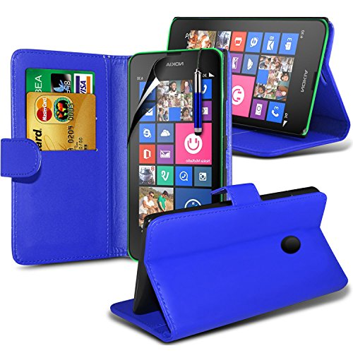 Preisvergleich Produktbild (Blau) Nokia Lumia 830 Eleganter Veloursleder-hausschuh Credit / Debit Card Leder Book Style Tasche Skin Case Cover, einziehbare Touch Screen Pen & Screen Protector von Aventus * *