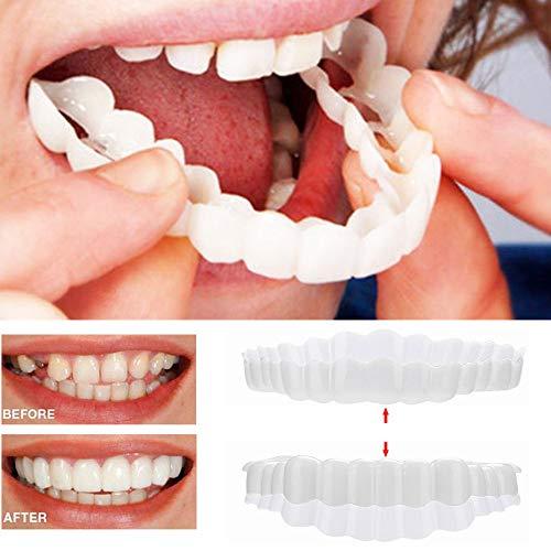 URSING Temporäres Lächeln Komfort fit Kosmetische Zähne Prothese Zähne Kosmetischer Aufkleber Natürlich Bequeme Kosmetisches Zahnfurnier Für EIN perfektes Lächeln (1 Paar Zähne)