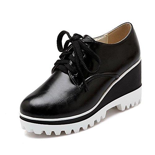 VogueZone009 Femme à Talon Haut Matière Souple Couleur Unie Lacet Fermeture D'Orteil Rond Chaussures Légeres Noir