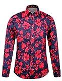 APTRO Männer Baumwolle Hemd Ferien Art-langärmliges Urlaub Rot Blumen Schwarz Hemd 1107 XXXL