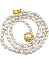 SURATDIAMOND Single Line Real Rice Pearl Necklace for Women