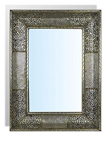 Medium rectangular silver Moroccan Mirror with Hammering insert - L50 W40 cm - SUMMER OFFER