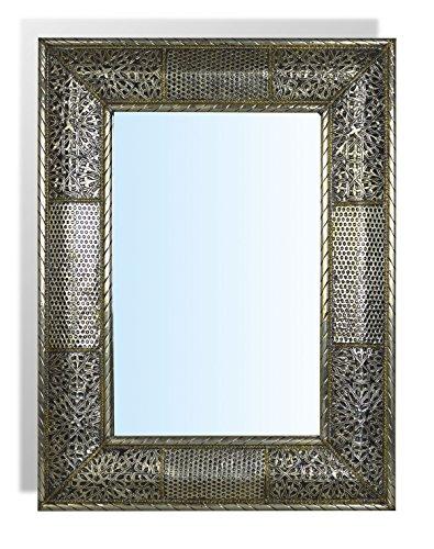 Große rechteckige Silber Marokkanische Spiegel mit Hämmern einfügen–L70W50cm -