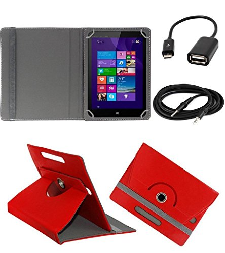 ECellStreet ™ PU Leather Rotating 360° Flip Case Cover With Tablet Stand For Digiflip Pro ET701Tablet - Red + Free Aux Cable + Free OTG Cable  available at amazon for Rs.289