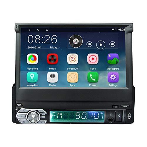 Podofo Single DIN stéréo de voiture Android 6.0 Voiture Radio RDS Navigation GPS écran tactile 17,8 cm Miroir Link Wifi Bluetooth USB/SD/caméra de recul