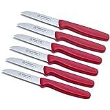 """6 Stück Schälmesser 3"""" gerade Klinge Griffe PP Kunststoff rot Küchenmesser Gemüsemesser Messer Kartoffelschälmesser Marsvogel Solingen # 18 30 01"""