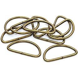 10x D-Ringe-Halbrundringe Stahl, altmessing. 40mm