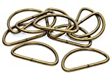10x D-Ringe-Halbrundringe Stahl, altmessing. 25mm