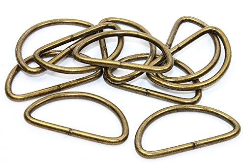 10x D-Ringe-Halbrundringe Stahl, altmessing. 40mm - Glücksspiel-ring