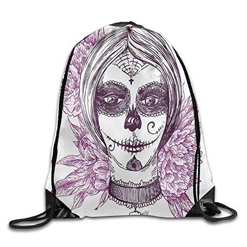 HLKPE Gothic Vampire Like Dead Face Skull with Flowers Drawstring Gym Sack Sport Bag for Men and Women