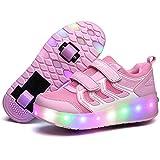 Charmstep Unisex Niños Zapatillas con Ruedas LED Luz Parpadea Deportes al Aire Libre Skateboard Sneaker Automáticamente Retráctiles Zapatos de Roller Niño/Niña,Pink2,30EU