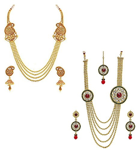 YouBella Jewellery Gold Plated Combo Of Two Necklace Jewellery set with Earrings For Girls/Women