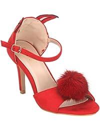 Estatos Suede Red Peep Toe Buckle Closure Ankle Strap Stilettos
