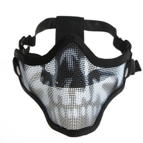 Generisches Taktische Wire Mesh Mask Nieder Halbe Gesichtsmaske-Schwarz mit Camouflage (Wire Mesh Band)