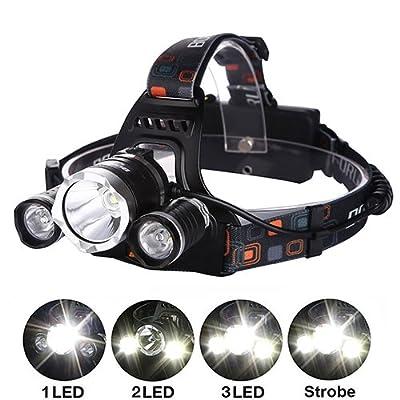 6000Lumen High Power LED Scheinwerfer von aiqi, wiederaufladbar 3CREE XM-L T6Helle Scheinwerfer, wasserdicht Kopf Taschenlampe Stirnlampe für Outdoor Camping Wandern Jagd Radfahren Laufen (2x 18650Akku + 1x Ac Ladegerät)