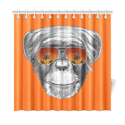 JOCHUAN Wohnkultur Bad Vorhang Hand gezeichnete Porträt AFFE Spiegel Sonnenbrille Polyester Stoff wasserdicht Duschvorhang für Badezimmer, 72 x 72 Zoll Duschvorhänge Haken enthalten