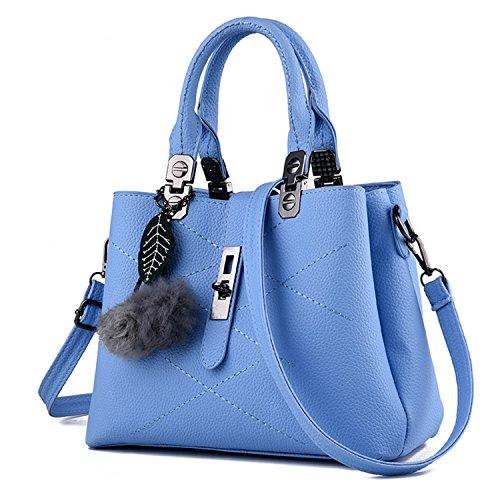 Young & Ming - Damen Leder Handbag Handtaschen Clutches Shopper Schultertaschen Raute mit Fuzzy-Kugel (Handtasche Womens Coach)