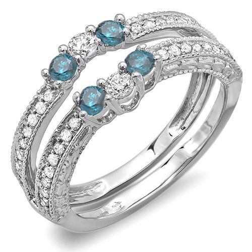 DazzlingRock Collection  -  10 K  Weißgold Rundschliff   Getöntes Weiß/Top Cape (K) blau Diamant Blauer Diamant  - Diamond Wrap Guard