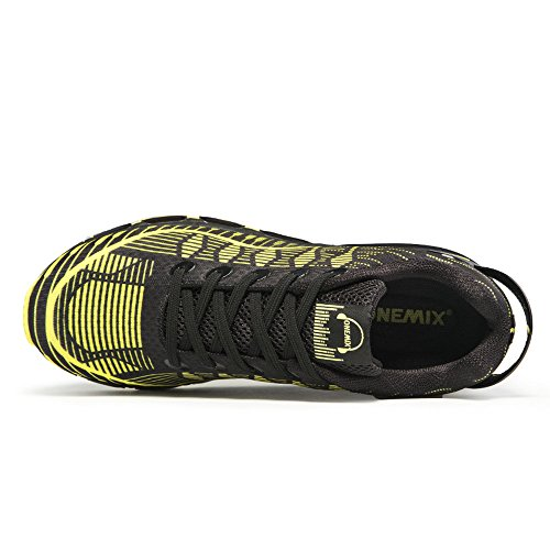 ONEMIX Air Scarpe da Ginnastica Corsa Basse Uomo Donna Sportive Running Basket Sneakers Casual Shoes Nero giallo