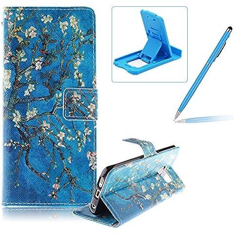 Samsung Galaxy S6 Edge Plus Funda de cuero billetera,Herzzer Samsung Galaxy S6 Edge Plus alta calidad la cubierta del estilo del libro,[Modelo colorido] Magnética Cubierta de la caja Funda protectora de TPU interior suave con Stand Función y Imán y ranuras para tarjetas de crédito para Samsung Galaxy S6 Edge Plus + 1 x Azul de la célula Teléfono pata de cabra + 1 x Azul Lápiz óptico - Rama de árbol
