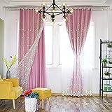 F.lashes Vorhang Gardinen Blickdicht aus Voile mit Ösen 2er Set, Verdunkelungsvorhang Thermovorhang lichtdicht für Wohnzimmer Schlafzimmer Küche 140x175 cm Rosa