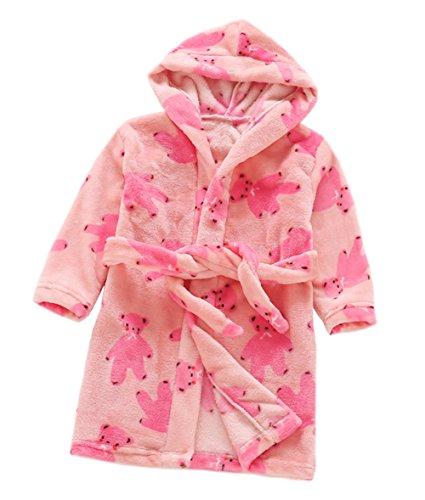 Rot Hooded Robe Kostüm - XINNE Jungen Mädchen Kapuzen-Bademantel Unisex Kleinkinder Morgenmantel Weichem Flanell Pyjamas Nachtwäsche Nachthemd Größe 140 Rose Rot