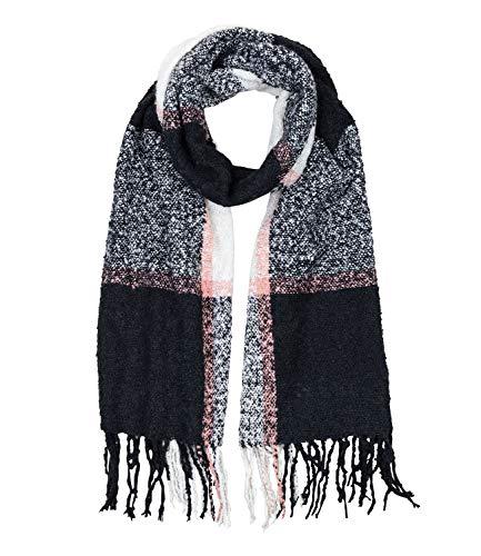 SIX Großer kuscheliger warmer Bouclé Schal mit schwarzen creme weißen Karos und rosa Streifen, 60 x 200 cm (705-498) -