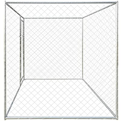 Mewmewcat Outdoor Dog Kennel Strong Heavy-duty Outdoor Animal Kennel 192 x 192 x 195 cm Galvanised Steel by Mewmewcat