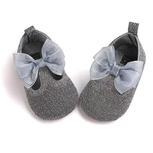 FEITONG Baby Bowknot Leder Schuhe Sneaker Anti-Rutsch Soft Sole Kleinkind (13, Rosa) Grau