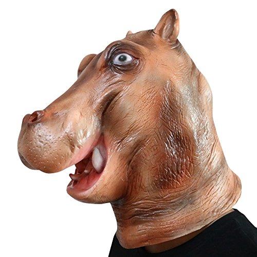 Hippo Nielpferd Tier Maske mask Kopf aus sehr hochwertigen Latex Material mit Öffnungen an Augen Halloween Karneval Fasching Kostüm Verkleidung für Erwachsene Männer und Frauen Damen Herren gruselig Grusel Zombie (Kostüm Hippo Kopf)